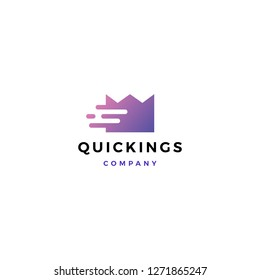 quick king crown fast tech digital logo vector icon