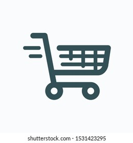 Quick order isolated icon, quick online shopping service linear vector icon