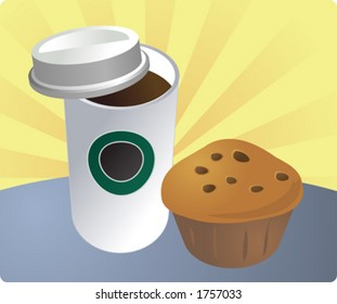 Quick and portable breakfast to go, cup of coffee and a muffin. Vector illustration