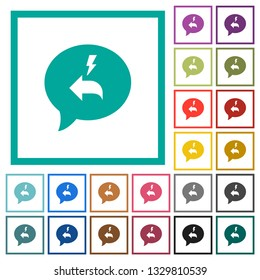 Quick reply message flat color icons with quadrant frames on white background