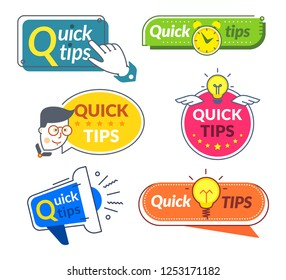 Quick tip banners. Tips and tricks suggestion, quickly help advice solutions. Helpful info words vector labels