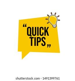 Quick tip , emblem, label, badge,sticker. Idea bulb education tricks.