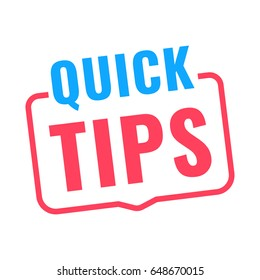 Quick tips. Badge icon. Flat vector illustration on white background.
