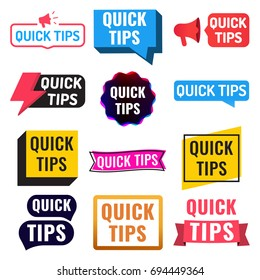 Quick tips. Badge, icon, set. Flat vector illustrations on white background.