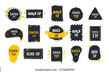 Quick tips badge set on black banners with light bulb. Different grunge styles in shape of circle, square