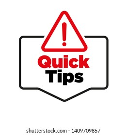 Quick tips badge vector illustration on white background.