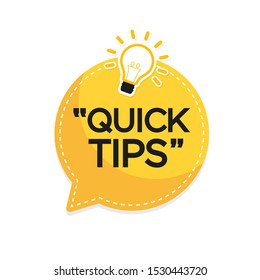 Quick Tips banner with light bulb. Vector background.