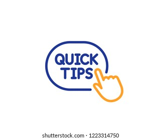Quick tips click line icon. Helpful tricks sign. Colorful outline concept. Blue and orange thin line color icon. Quick tips Vector