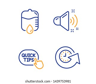 Quick tips, Drop counter and Loud sound icons simple set. Update time sign. Helpful tricks, Medical equipment, Music. Refresh watch. Business set. Linear quick tips icon. Colorful design set. Vector