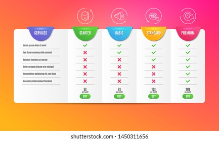 Quick tips, Drop counter and Loud sound icons simple set. Comparison table. Update time sign. Helpful tricks, Medical equipment, Music. Refresh watch. Business set. Pricing plan. Vector
