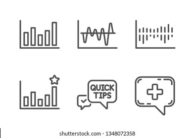 Quick tips, Efficacy and Column diagram icons simple set. Stock analysis, Column chart and Medical chat signs. Helpful tricks, Business chart. Science set. Line quick tips icon. Editable stroke