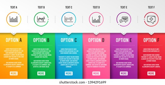 Quick tips, Efficacy and Column diagram icons simple set. Stock analysis, Column chart and Medical chat signs. Helpful tricks, Business chart. Science set. Infographic template. 6 steps timeline
