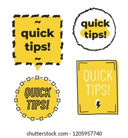 Quick tips with hand drawn frame isolated on white background. Vector illustration