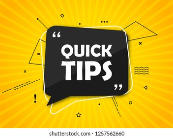 Quick tips, helpful tricks banner. Vector icon of solution. Black speech bubble with text on yellow radial striped background