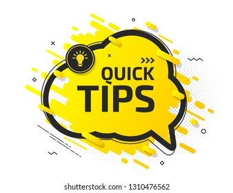 Quick tips, helpful tricks, hint. Tooltip with suggestion of help. Yellow banner with useful information, support, advice. Vector icon of solution, idea. Speech balloon in black frame with light bulb