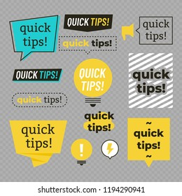 Quick tips, helpful tricks logos, emblems and banners vector set isolated on transparent background. Vector illustration