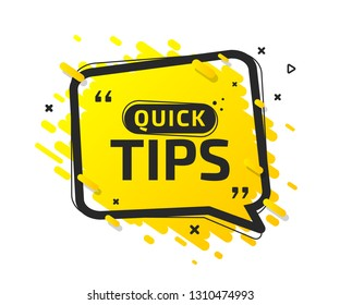 Quick tips, helpful tricks, tooltip, hint for website. Colorful banner with useful information, online support. Vector icon of solution, idea, advice. Yellow speech balloon in black frame with caption