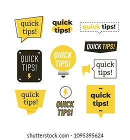 Quick tips, helpful tricks vector logos, emblems and banners vector set isolated. Helpful idea, solution and trick illustration