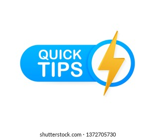 Quick tips, hint, helpful tricks, tooltip for website. Creative banner with useful information. Vector stock illustration.