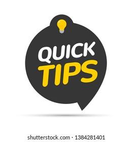Quick tips icon badge. Top tips advice note icon. Idea bulb education tricks.