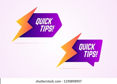 Quick tips icons with lightning, bolt sign. Vector illustration in modern gradient style.