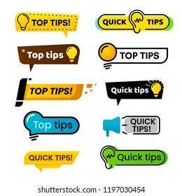 Quick tips. Idea suggestion, tricks solutions advice and best solution tip, quickly solutions trick helpful advices suggestion bubbles isolated vector banner isolated sign set