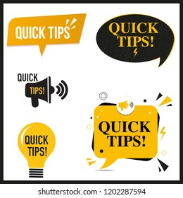 Quick Tips illustration - icon or symbol set with black and yellow color
