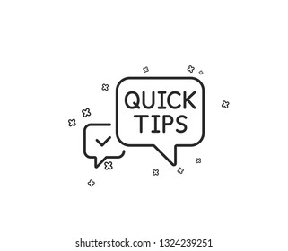 Quick tips line icon. Helpful tricks speech bubble sign. Geometric shapes. Random cross elements. Linear Quick tips icon design. Vector
