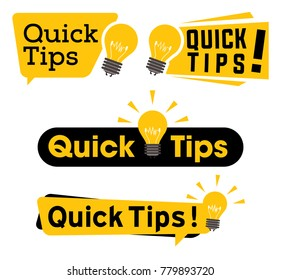 Quick tips logo, icon or symbol set with black and yellow color and lightbulb element suitable for web