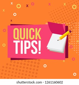 Quick tips Modern helpful tips composition with flat design - Vector illustrator