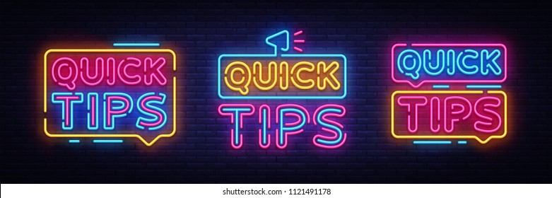 Quick Tips Neon sign collection vector design template. Quick tips neon text, light banner design element colorful modern design trend, night bright advertising, bright sign. Vector illustration