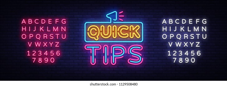 Quick Tips neon signs vector. Quick Tips Design template neon sign, light banner, neon signboard, nightly bright advertising, light inscription. Vector illustration. Editing text neon sign
