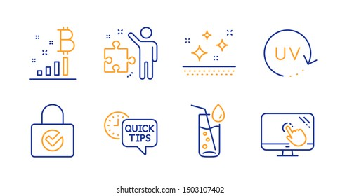 Quick tips, Password encryption and Strategy line icons set. Clean skin, Water glass and Bitcoin graph signs. Uv protection, Touch screen symbols. Helpful tricks, Protection locker. Vector