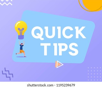 quick tips vector illustration concept, young man give quick tips, can use for, landing page, template, ui, web, mobile app, poster, banner, flyer