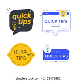 Quick tips vector set labels or emblem. Helpful tricks and hints sticker for website. Vector icon