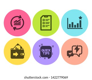 Quick tips, Wallet and Efficacy icons simple set. Update data, Checklist and Lightning bolt signs. Helpful tricks, Money payment. Education set. Flat quick tips icon. Circle button. Vector