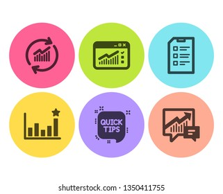Quick tips, Web traffic and Efficacy icons simple set. Update data, Checklist and Accounting signs. Helpful tricks, Website window. Science set. Flat quick tips icon. Circle button. Vector
