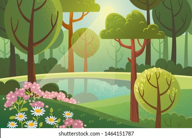 Quiet Corner FOR Nature Lovers. Forest landscape. Summer wood with flowers and pound.