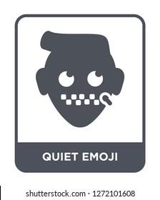 quiet emoji icon vector on white background, quiet emoji trendy filled icons from Emoji collection, quiet emoji simple element illustration