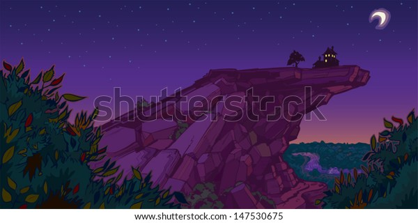 A quiet and peaceful scene of a house and tree with a tire swing on top of a mountain in the evening. Light shows through the windows. Created as a vector illustration.
