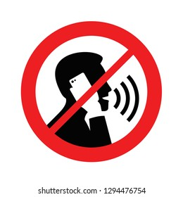Quiet pleasase, no phone talking - prohibition sign with crossed human silhouette talking on the phone