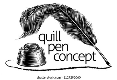 A quill feather ink writing pen and inkwell concept in a vintage retro woodcut or woodblock line art drawing style