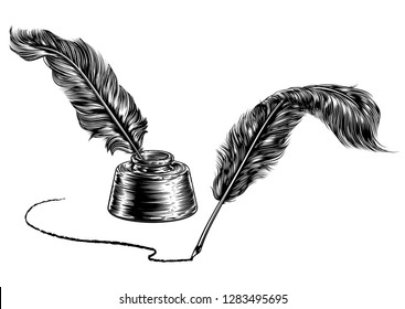 Quill feather ink writing pens and an inkwell in a vintage retro woodcut or woodblock line art drawing style