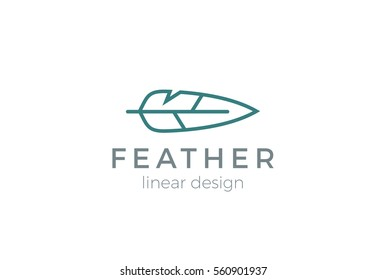 Quill Feather Pen Logo design vector template Linear style.