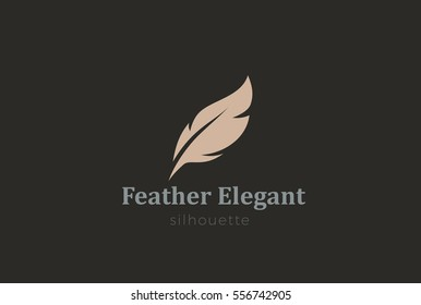 Quill Feather Pen Logo Elegant design vector template. Law, Legal, Lawyer, Copywriter, Writer, Stationary Logotype concept icon