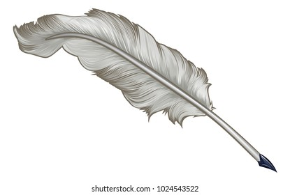 A quill feather plume ink pen cartoon