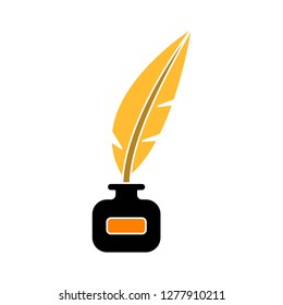 quill icon - ink feather isolate, ink pen illustration- Vector quill pen ink