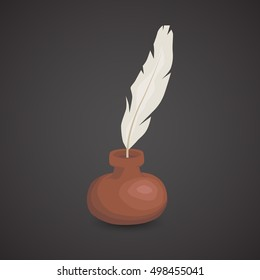 Quill icon isolated on neutral background. Vector art.