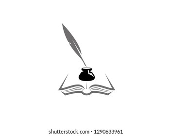Quill inside an inkwell in the papers on an open book, Feder und Buch mit Tintenfass