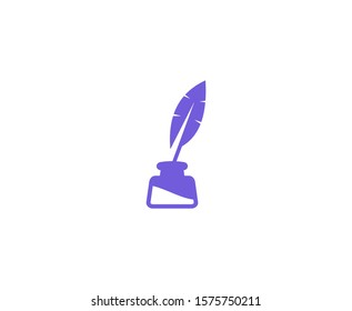 Quill logo pen feather vector